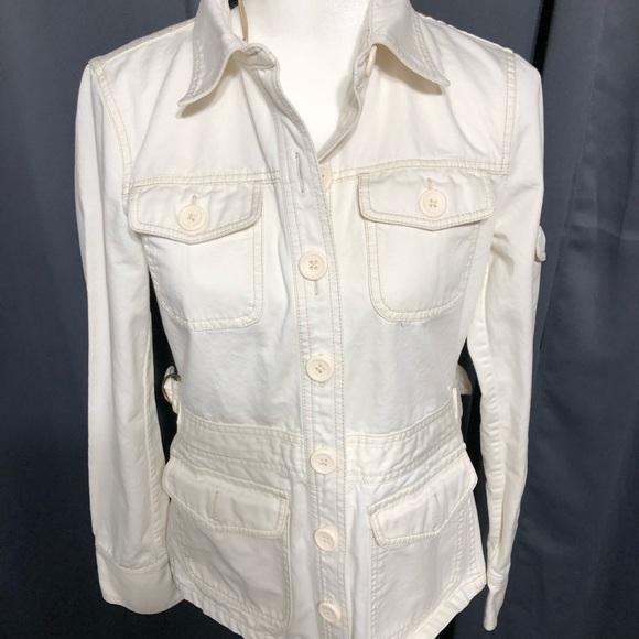 J. Crew cream Jean Jacket w/Tan Stitching.   C50